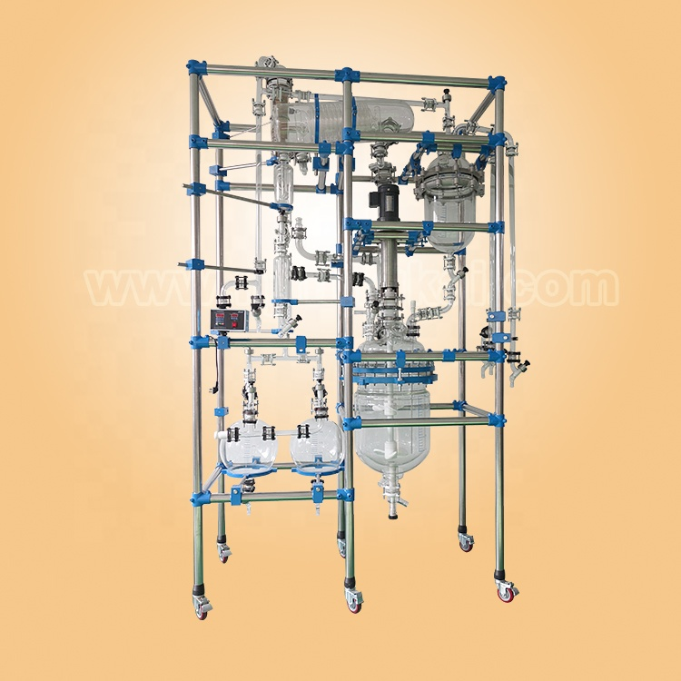 multifunctional double layer glass reactor