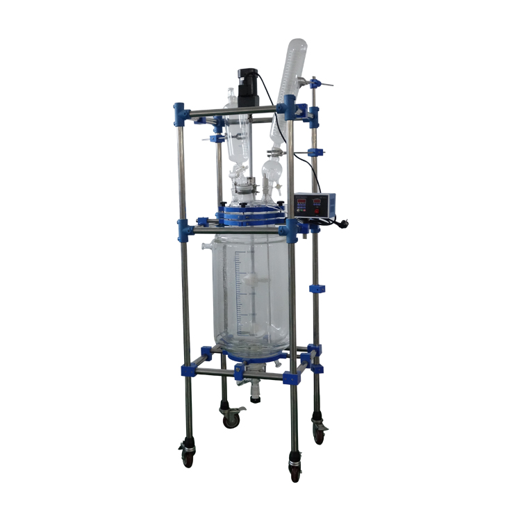 High Efficiency 20L 30L 100L Jacketed Glass Reactor